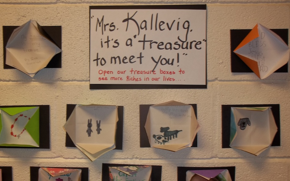 Origami Treasure Chests made by students in honor of Christine Petrell Kallevig